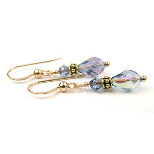 Damali 14K Gold December Tanzanite Swarovski Crystal Elements Earrings