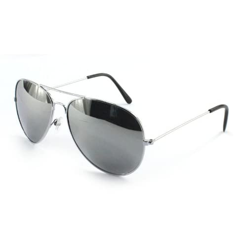 70's Designer Style Unisex Silver Mirror Aviator Sunglasses & Free Bag - UV400 Protection - One Size Fits All...