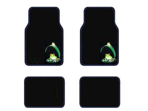 A Set of 4 Universal Fit Plush Carpet Floor Mats - Green Frogs on Lily Pad