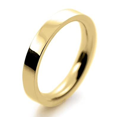 18ct Yellow Gold Wedding Ring Flat Court Very Heavy - 3mm