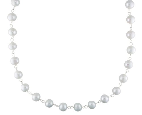 Sterling Silver 10.0-10.5 mm Potato Freshwater Cultured Pearl Endless Necklace, 30