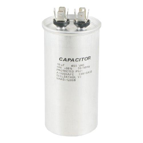 Silver Tone 450VAC 35uF Electric Motor Running P921 Capacitor