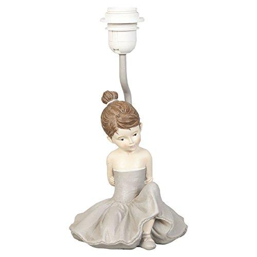 CLAYRE & EEF - Lampada da Tavolo - Abat-Jour - Bambina Ballerina in Resina Grigio - Diam. 16x30H cm - Attacco E27 Max 60W