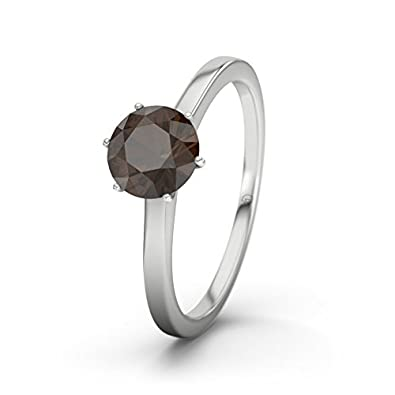 21DIAMONDS Engagement Women's Ring with Round Brilliant Cut Engagement Ring with Smoky Quartz, Silver Rings