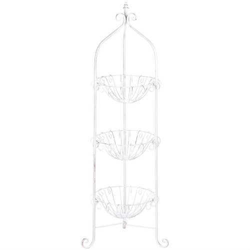 White Three-Tier Wire Basket Stand (White Basket Stand compare prices)