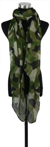 Large Green Camouflage Chiffon Scarf or Sarong