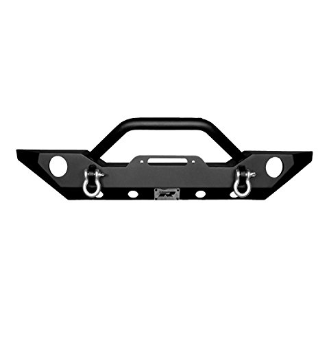 Razer Auto Black JK Jeep Wrangler Front Bumper with Fog Light Holes & D-Rings & Winch Plate JK Jeep