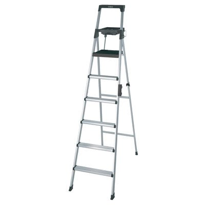 Cosco 8' Foot Lightweight Aluminum Multi-Use Folding Step Ladder W/ Work Tray front-984367