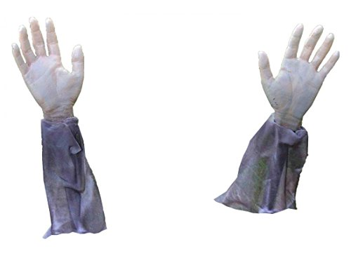 1 Pair Superior Popular Plastic Zombie Arm Halloween Spooky Props Creepy Scary Grave Yard Graveyard Decor with (Collection Halloween Movie Scary Village)