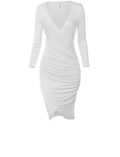 Sexy Front Slit Stretchy Body Wrap Fit Dresses,028-White,Medium