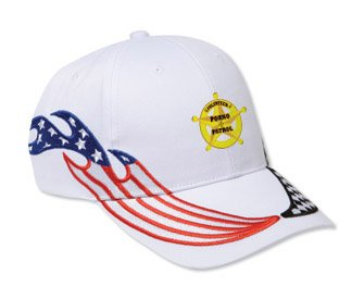 VOLUNTEER PORNO PATROL White USA Flag / Checker Racing Hat / Baseball Cap