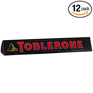 Toblerone Swiss Dark Chocolate with Honey and Almond Nougat, 3.52-Ounce Bar (Pack of 12)