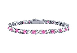 Pink Sapphire and Diamond Tennis Bracelet : Platinum - 5.00 CT TGW