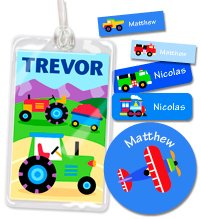 Olive Kids Trains, Planes And Trucks Personalized Camp Kit front-970846