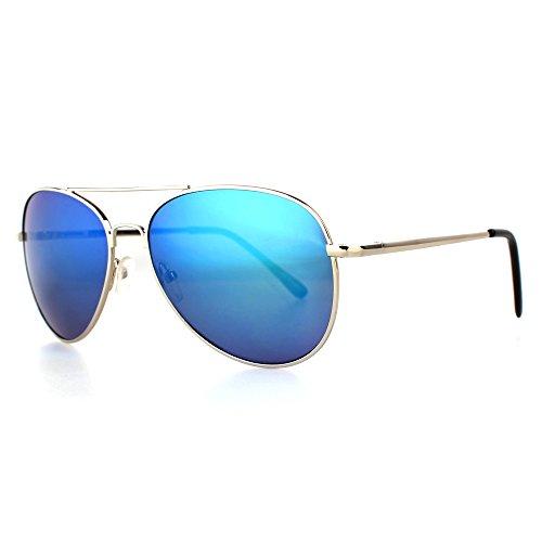 Distressed Sonnenbrille Pilotenbrille Topgun Pornobrille silber-blau-verspiegelt