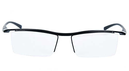 d368d3aad3 Agstum Pure Titanium Half Rimless Business Glasses Frame Optical Eyeglasses  Clear Lens (Black)
