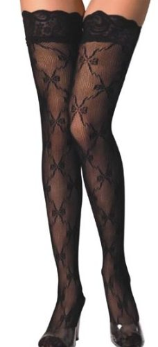 Black Lace Top Bow Stockings (UK6-10)