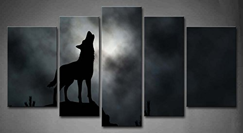 5 Panel Wall Art Illustrated Silhouette Of A Howling Wolf With Moonlit Clouds Background Trees Rock Painting Pictures Print On Canvas Animal The Picture For Home Modern Decoration Piece (Stretched By Wooden Frame,Ready To Hang)