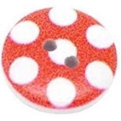 Pack of 20 Red Spot Print, 2 Holes Round Wooden Buttons, for Sewing, Scrapbooking, Embelishments, Crafts, Jewellery making, shabby chic, Knitting, 15mm