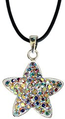 Silver STAR crystal Pendant - Aurora bling bling!! - the necklace is adjustable size 16