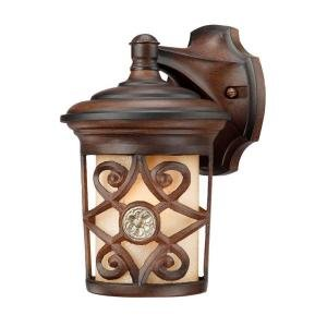 Hampton Bay Wall Mount 1 Light Outdoor Berre Walnut Lantern Outdoor Post Light Accessories
