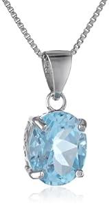 "Sterling Silver Gemstone Pendant Necklace, 18"""