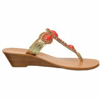 Ivanka Trump Women'S Jody Wedge Sandal,Coral Stones/Gold Leather,8 M Us front-594625