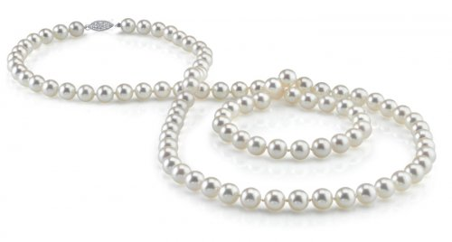 14K Gold 6.5-7.0mm Japanese Akoya White Cultured Pearl Necklace - AA+ Quality, 36 Inch Opera Length