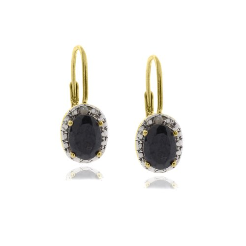 18k Gold Overlay Diamond Accent Sapphire September Birthstone Leverback Earrings