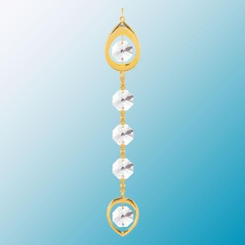 24K Gold Plated Hanging Sun Catcher or Ornament..... Almond Topped Chain with Clear Swarovski Austrian Crystal