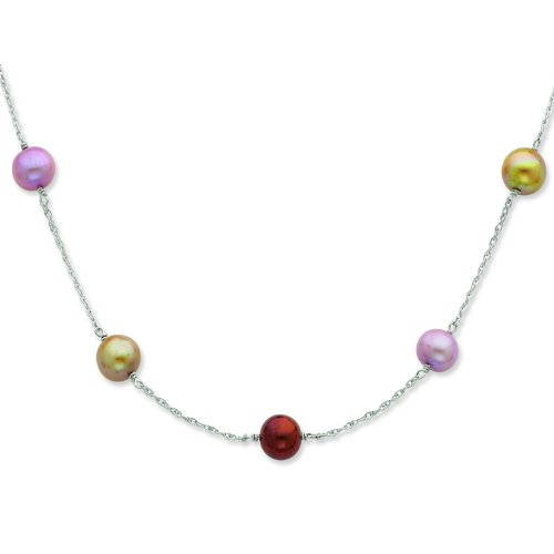 Silver 8-9mm Choc/Cham/Lav FW Cultured Pearl Necklace. 28in long Necklace.