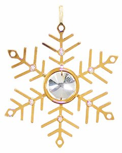 24k Gold Small Snowflake Ornament – Clear Swarovski Crystal