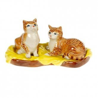 Porcelain Ginger Tabby Cat Salt & Pepper Cruet Set with Tray from Orchid Designs