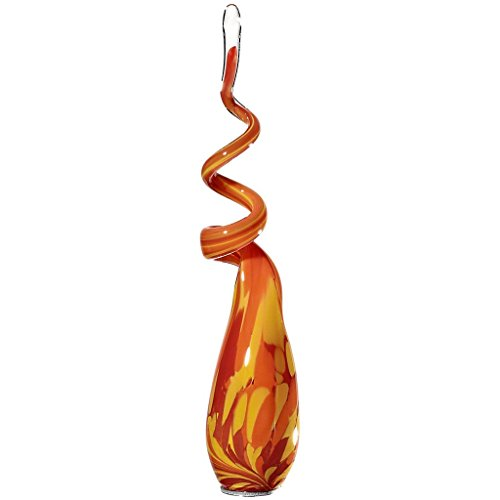 "Garden Flame, Glass Flame, Garden Decoration ""Spiro-M"" Ross-Orange, Aprox. 40 Cm, Decorative Ornament, Modern Style (Gardenflair Powered By Cristalica)"