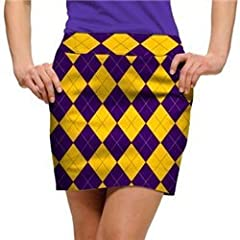 Loudmouth Golf Ladies Skorts: Purple & Gold Argyle - Size 2 by Loudmouth Golf