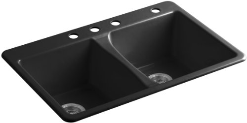 KOHLER K-5873-4-7 Deerfield Double Bowl Top-Mount Kitchen Sink with Four Hole Drillings, Black Black (Cast Iron Sinks Kitchen compare prices)