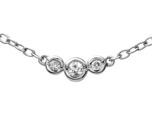 9ct White Gold 0.15ct Diamond Trilogy Necklace of 41cm