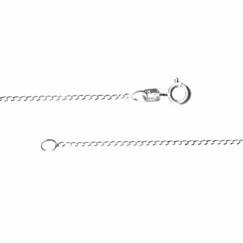 Sterling Silver Fine Open Curb Diamond Cut Nickel Free Chain Necklace for Child Italy 14 Inch