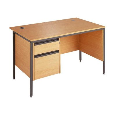 Maestro Straight H Frame Desk with Modesty Panel Finish: Beech, Drawer: 2, Size: 153.2cm