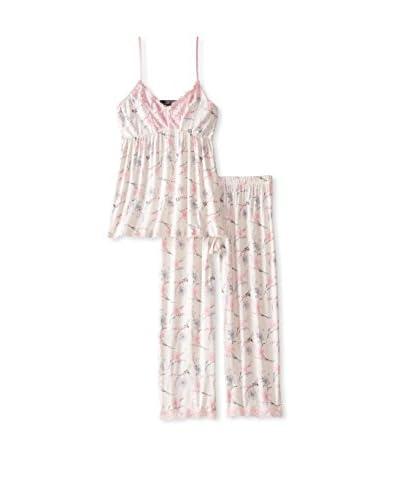 René Rofé Sleepwear Women's Adorable Lace Capri Pajama Set