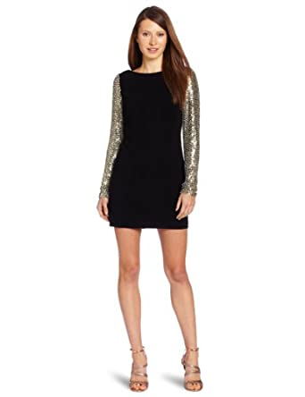 Parker Women's Sequin Sleeve Shift Dress, Black, Medium