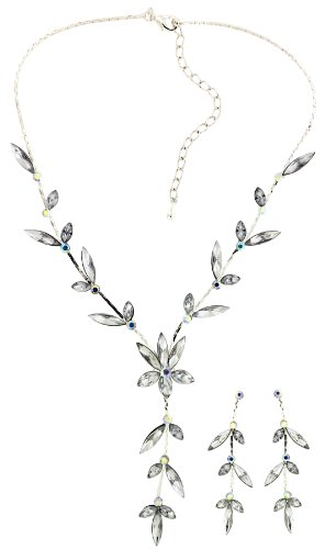 Jodie Rose Crystal Leaf Necklace and Earrings Set of length 38 cm