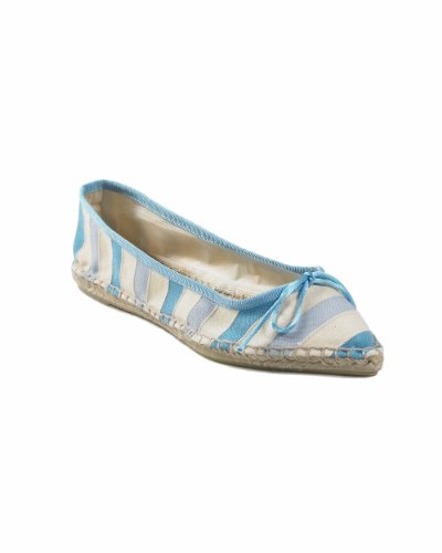 Blue-Striped Ballet-Style Espadrille with Pointed Toe by Spiegel