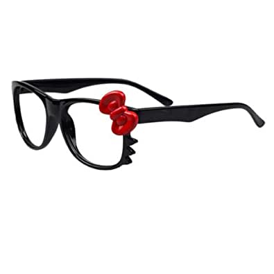 S9D New Brand Hello Kitty Lovely Fashion Black Bow Style Glasses Frame Cosplay