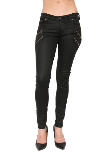 Women'S 7 For All Mankind Skinny 2Nd Skin Legging W/Zip In Black Shiny Size 29