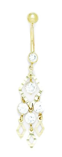 14k Yellow Gold CZ 14 Gauge Dangling Fancy Drop Body Jewelry Belly Ring - Measures 50x11mm
