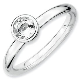 Genuine IceCarats Designer Jewelry Gift Sterling Silver Stackable Expressions Low 5Mm Round White Topaz Ring Size 7.00