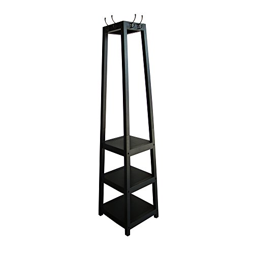 Black Entryway Coat Rack Tower Shelf Stand Clothes