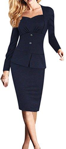 Women's Long Sleeves Elegant Peplum Business Bodycon Pencil Dress Navy Blue