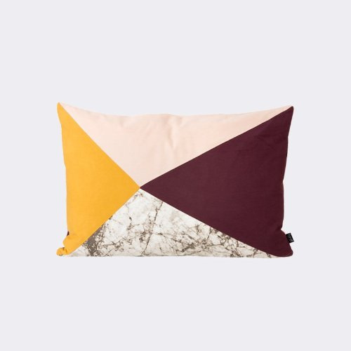 Fusion Triangle Cushion - Aubergine/Marble